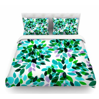 Dahlia Dots by Ebi Emporium Featherweight Duvet Cover Color: Teal/Green, Size: King