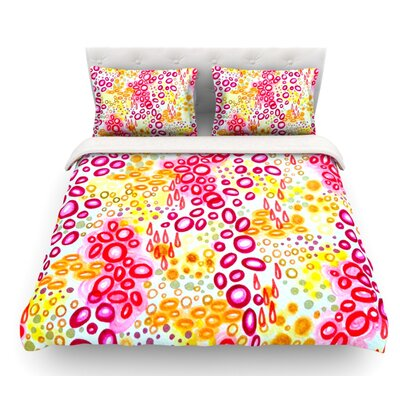 Circular Persuasion by Ebi Emporium Featherweight Duvet Cover Size: King, Color: Pink/Yellow/Magenta