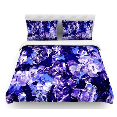 Floral Fantasy by Ebi Emporium Featherweight Duvet Cover Color: Purple, Size: Twin, Fabric: Cotton