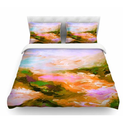 Taken by the Undertow by Ebi Emporium Featherweight Duvet Cover Color: Pink/Orange, Size: Twin
