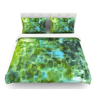 Pastel Jungle by Ebi Emporium Featherweight Duvet Cover Color: Green/Blue, Size: King, Fabric: Lightweight Polyester