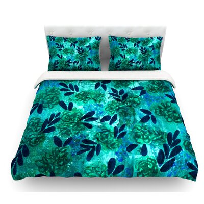 Grunge Flowers by Ebi Emporium Featherweight Duvet Cover Color: Teal, Size: Queen