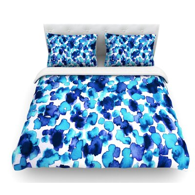 Giraffe Spots by Ebi Emporium Featherweight Duvet Cover Color: Aqua/Blue, Size: King