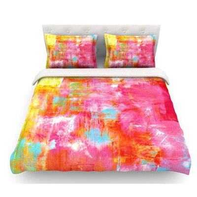 Off the Grid by Ebi Emporium Featherweight Duvet Cover Size: Twin, Color: Pink/Yellow