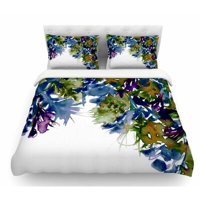 Floral Cascade by Ebi Emporium Featherweight Duvet Cover Color: Purple/Green, Size: Queen