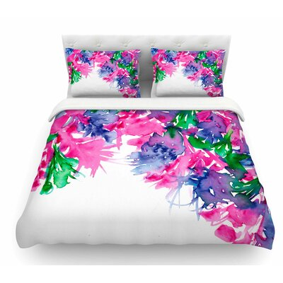 Floral Cascade by Ebi Emporium Featherweight Duvet Cover Color: Pink/Green/Navy Blue, Size: Queen