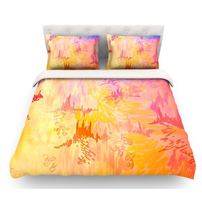 Sky Risers by Ebi Emporium Glam Featherweight Duvet Cover Color: Pink/Yellow, Size: Queen, Fabric: Cotton