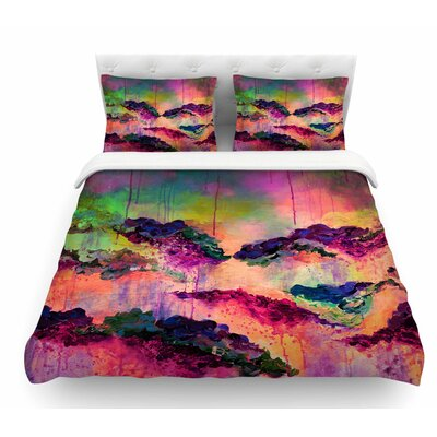 Its a Rose Colored Life by Ebi Emporium Featherweight Duvet Cover Color: Magenta/Orange, Size: King