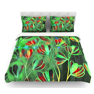 Efflorescence by Ebi Emporium Featherweight Duvet Cover Color: Lime/Green/Red, Size: King