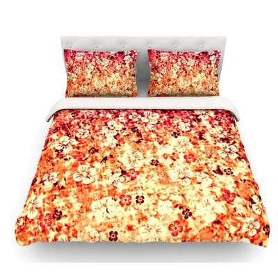 Flower Power by Ebi Emporium Featherweight Duvet Cover Color: Orange/Red, Size: King