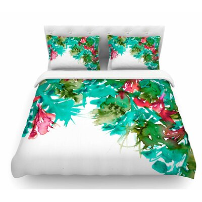 Floral Cascade by Ebi Emporium Featherweight Duvet Cover Color: Teal/Red, Size: King