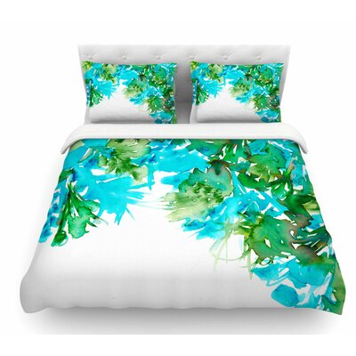 Floral Cascade by Ebi Emporium Featherweight Duvet Cover Size: Twin, Color: Teal/Green