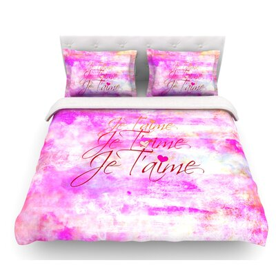 Je Taime by Ebi Emporium Featherweight Duvet Cover Color: Pink, Size: King/California King, Fabric: Woven Polyester