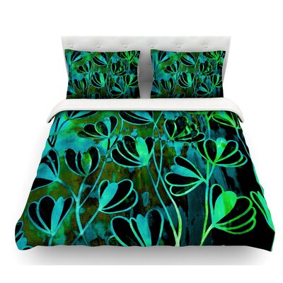 Efflorescence by Ebi Emporium Featherweight Duvet Cover Color: Green/Teal/Black, Size: Queen