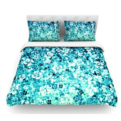 Flower Power by Ebi Emporium Featherweight Duvet Cover Color: Blue/Aqua/Teal, Size: King