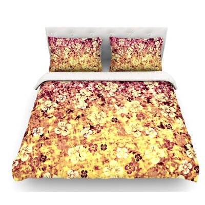 Flower Power by Ebi Emporium Featherweight Duvet Cover Size: Queen, Color: Yellow/Orange