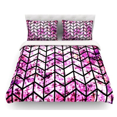 Chevron Wonderland by Ebi Emporium Featherweight Duvet Cover Size: Twin, Color: Pink/Black