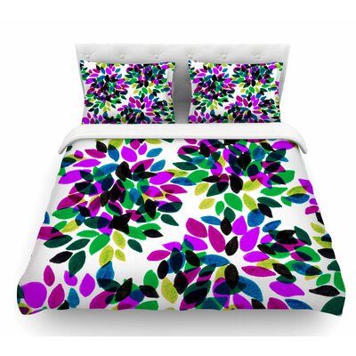 Dahlia Dots by Ebi Emporium Featherweight Duvet Cover Color: Purple/Green, Size: Queen