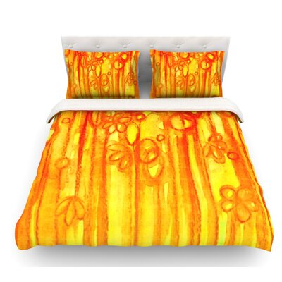 Sensations by Ebi Emporium Featherweight Duvet Cover Size: Twin, Color: Yellow/Orange, Fabric: Lightweight Polyester