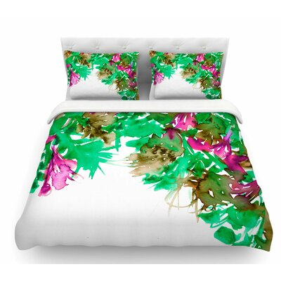 Floral Cascade by Ebi Emporium Featherweight Duvet Cover Color: Pink/Green, Size: Queen