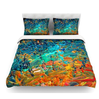 Eternal Tide by Ebi Emporium Featherweight Duvet Cover Color: Teal/Orange, Size: Queen