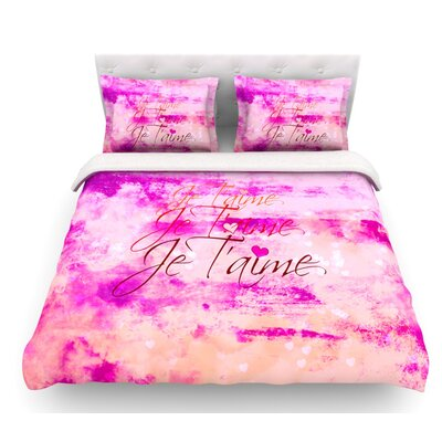 Je Taime by Ebi Emporium Featherweight Duvet Cover Color: Hot Pink/Peach, Size: Twin, Fabric: Cotton