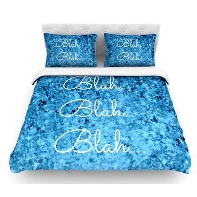 Blah Blah Blah by Ebi Emporium Glitter Featherweight Duvet Cover Size: Queen