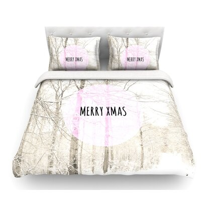 Merry Xmas by Iris Lehnhardt Holiday Featherweight Duvet Cover Size: Queen