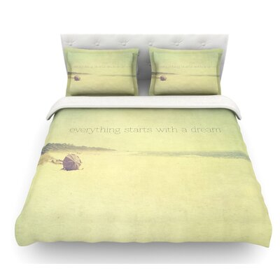 Everything Starts with a Dream by Ingrid Beddoes Beach Quote Featherweight Duvet Cover Size: Twin