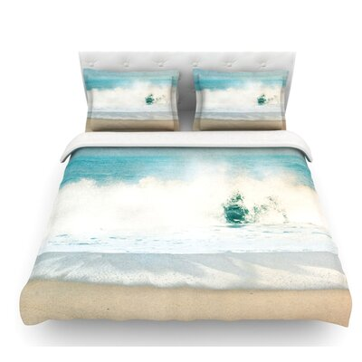 Ocean by Ingrid Beddoes Wave Featherweight Duvet Cover Size: Queen, Fabric: Lightweight Polyester
