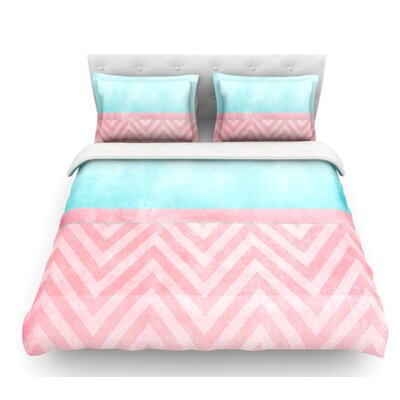 Light Chevron by Ingrid Beddoes Blush Featherweight Duvet Cover Size: King