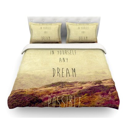 Believe by Ingrid Beddoes Desert Quote Featherweight Duvet Cover Size: Twin