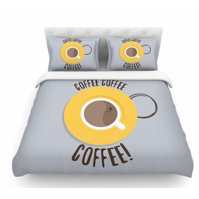 Coffee! by Jackie Rose Featherweight Duvet Cover Size: Queen