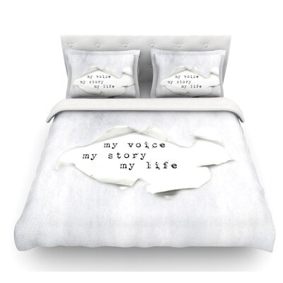 My Life by Ingrid Beddoes Paper Text Featherweight Duvet Cover Size: King, Fabric: Lightweight Polyester
