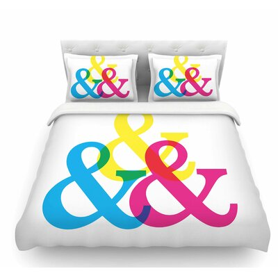 Cymk Ampersands by Jackie Rose Colorful Featherweight Duvet Cover Size: Twin