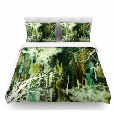 Tree of Life by Iris Lehnhardt Featherweight Duvet Cover Color: Nature Green, Size: King