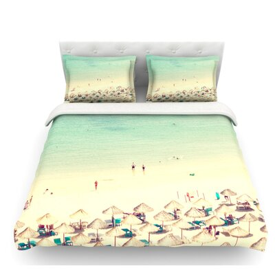 Happy Summer by Ingrid Beddoes Beach Featherweight Duvet Cover Size: Twin, Fabric: Woven Polyester
