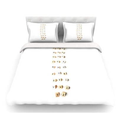 ABC by Ingrid Beddoes Wooden Letters Featherweight Duvet Cover Size: Queen, Fabric: Woven Polyester