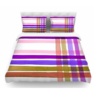 Plaid Stripes in Color 6 by Ebi Emporium Featherweight Duvet Cover Size: King