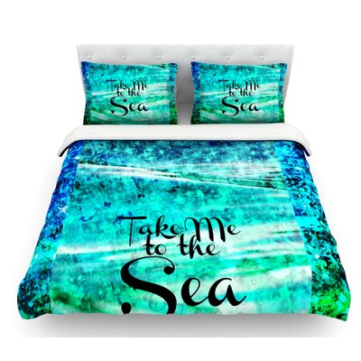 Take Me to the Sea by Ebi Emporium Glitter Featherweight Duvet Cover Size: Queen