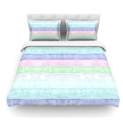 Beach Wood by Monika Strigel Featherweight Duvet Cover Color: White/Blue/Purple, Size: Full/Queen, Fabric: Woven Polyester
