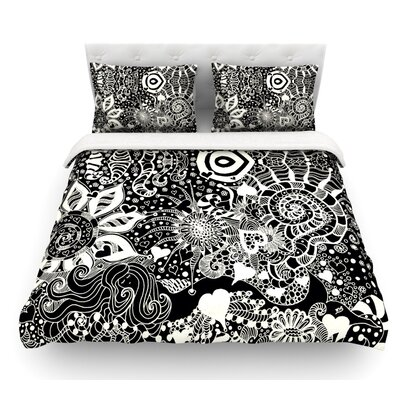 Neptunes Garden by Monika Strigel Featherweight Duvet Cover Color: Black/White, Size: Queen