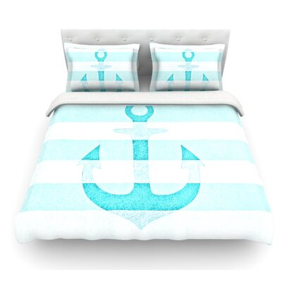 Stone Vintage Anchor by Monika Strigel Featherweight Duvet Cover Size: King, Color: Aqua, Fabric: Woven Polyester