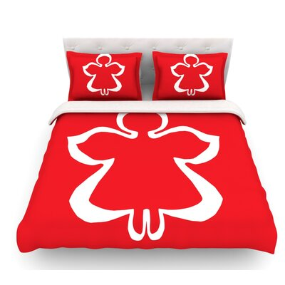 Flying Angel by Miranda Mol Holiday Featherweight Duvet Cover Size: Queen