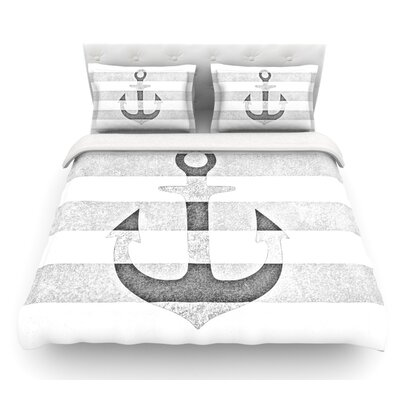 Stone Vintage Anchor by Monika Strigel Featherweight Duvet Cover Size: Twin, Color: Gray, Fabric: Lightweight Polyester