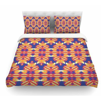 Ethnic Border by Miranda Mol Indigo Featherweight Duvet Cover Size: Twin