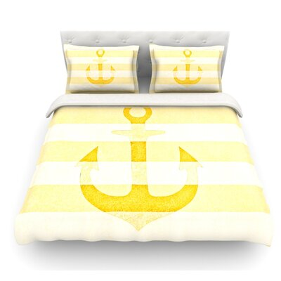 Stone Vintage Anchor by Monika Strigel Featherweight Duvet Cover Color: Yellow, Size: King, Fabric: Cotton