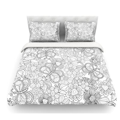 My Butterflies and Flowers by Julia Grifol Featherweight Duvet Cover Size: King