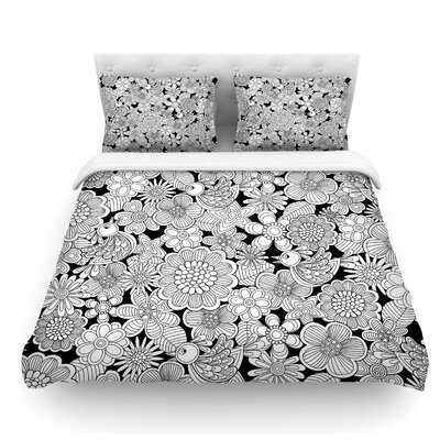 Birds by Julia Grifol Featherweight Duvet Cover Color: White/Black, Size: King