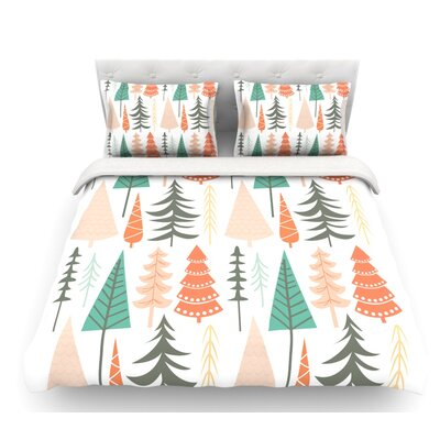 Happy Forest  Featherweight Duvet Cover Color: Orange/Green, Size: King